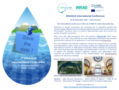 Save the date ! DNAQUA International Conference